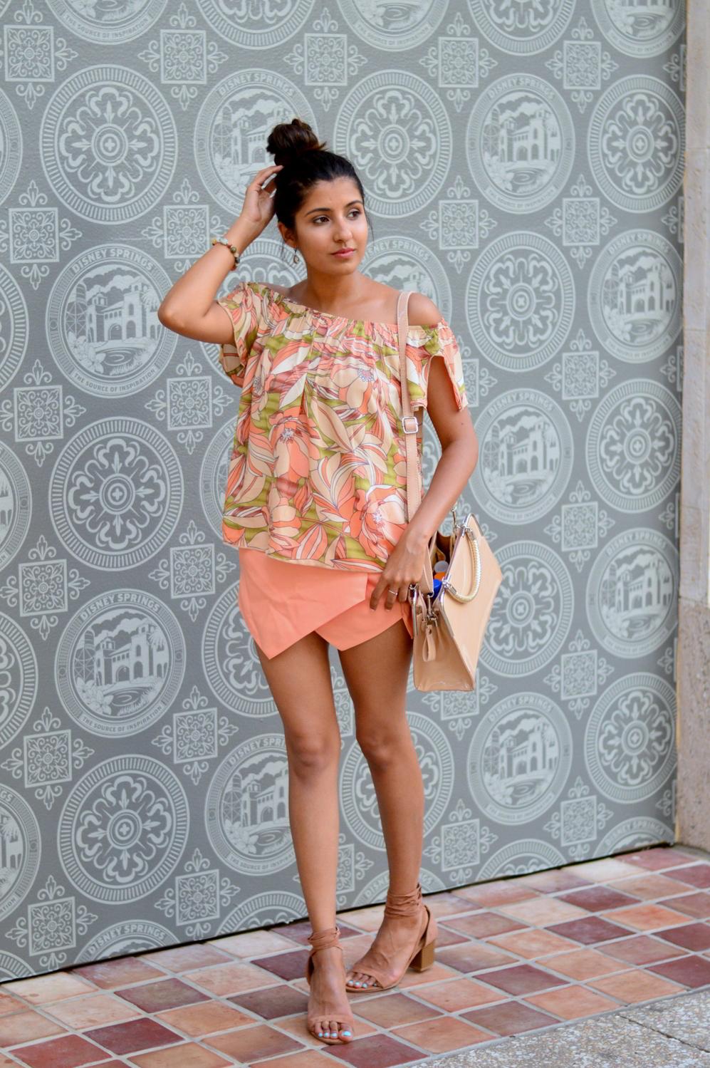 floral-off-the-shoulder-asymmetric-skort-lace-up-sandals-florida-style 5