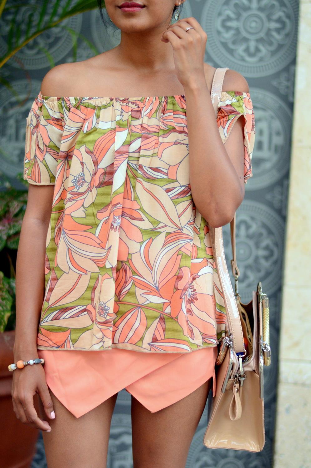floral-off-the-shoulder-asymmetric-skort-lace-up-sandals 6