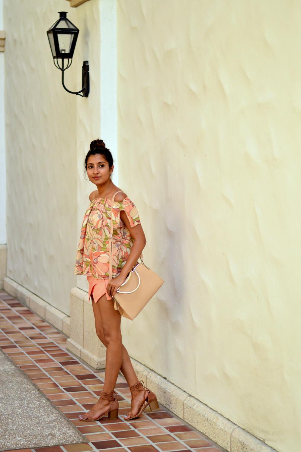 floral-off-the-shoulder-asymmetric-skort-lace-up-sandals-blogger-outfit-summer 7