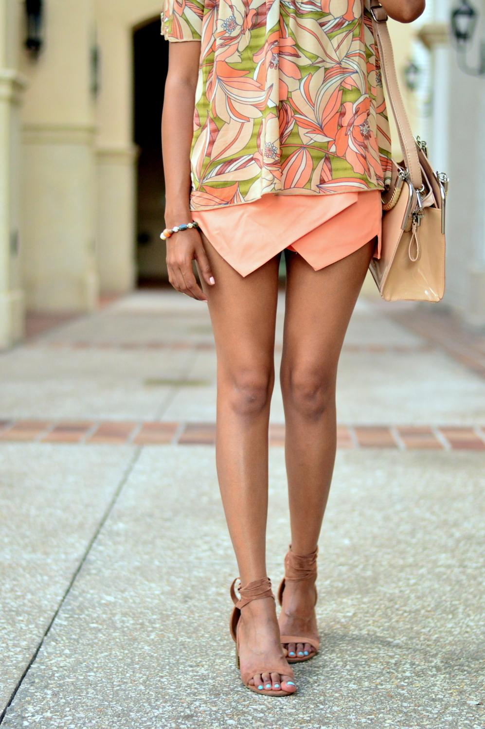 floral-off-the-shoulder-asymmetric-skort-lace-up-sandals 8