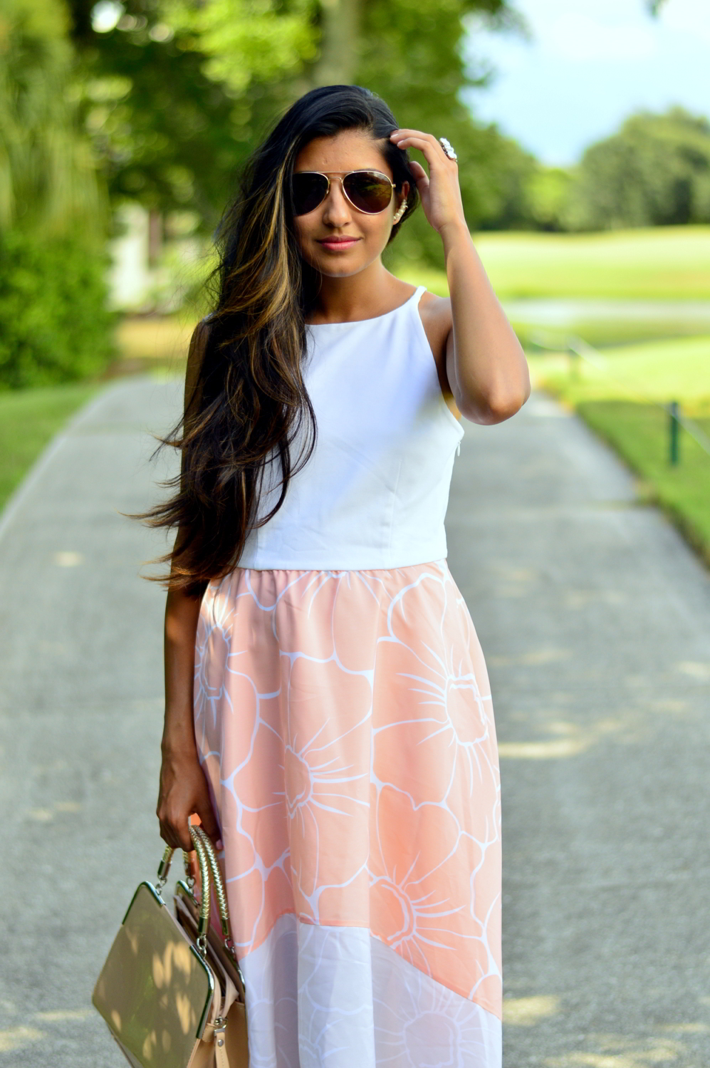 floral-pastel-high-low-dress-summer-blogger-outfit 2