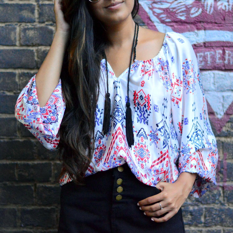 denim-highwaisted-cutoff-shorts-printed-tasseled-peasant-blouse-summer-boho-chic-casual-style 6