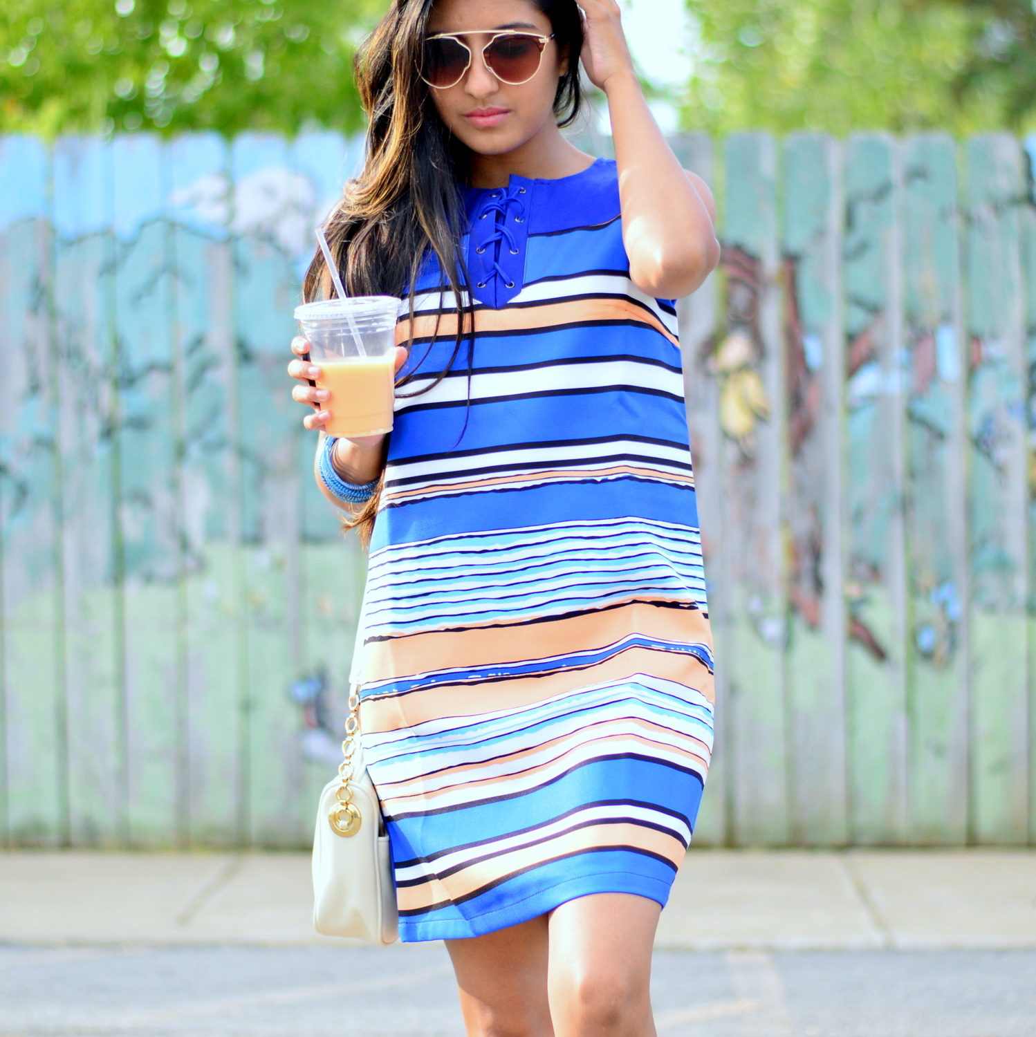 striped-laceup-dress-sneakers-summer-outfit-casual-style 2