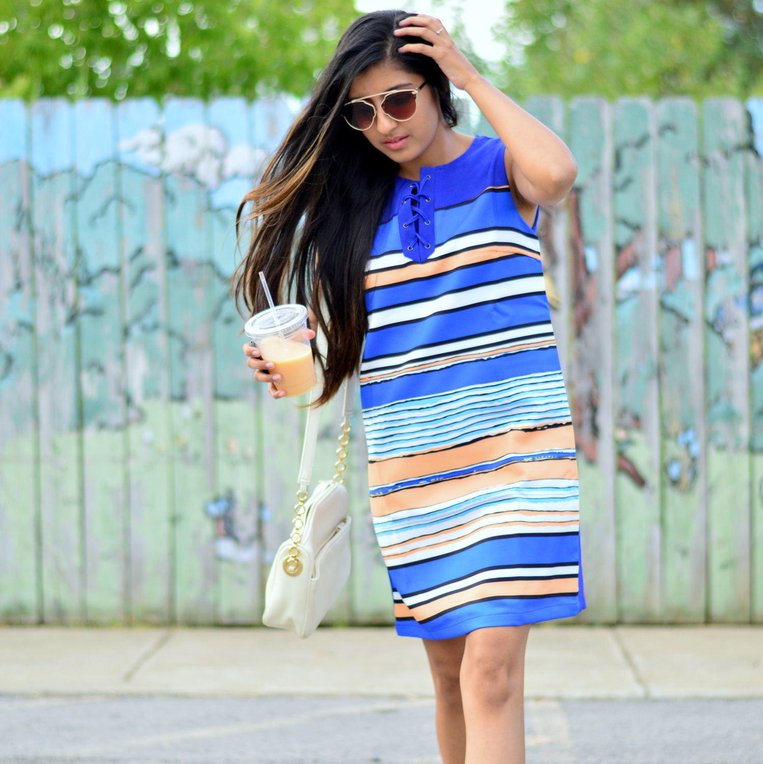 striped-laceup-dress-how-to-style-sneakers-summer-casual-style 5