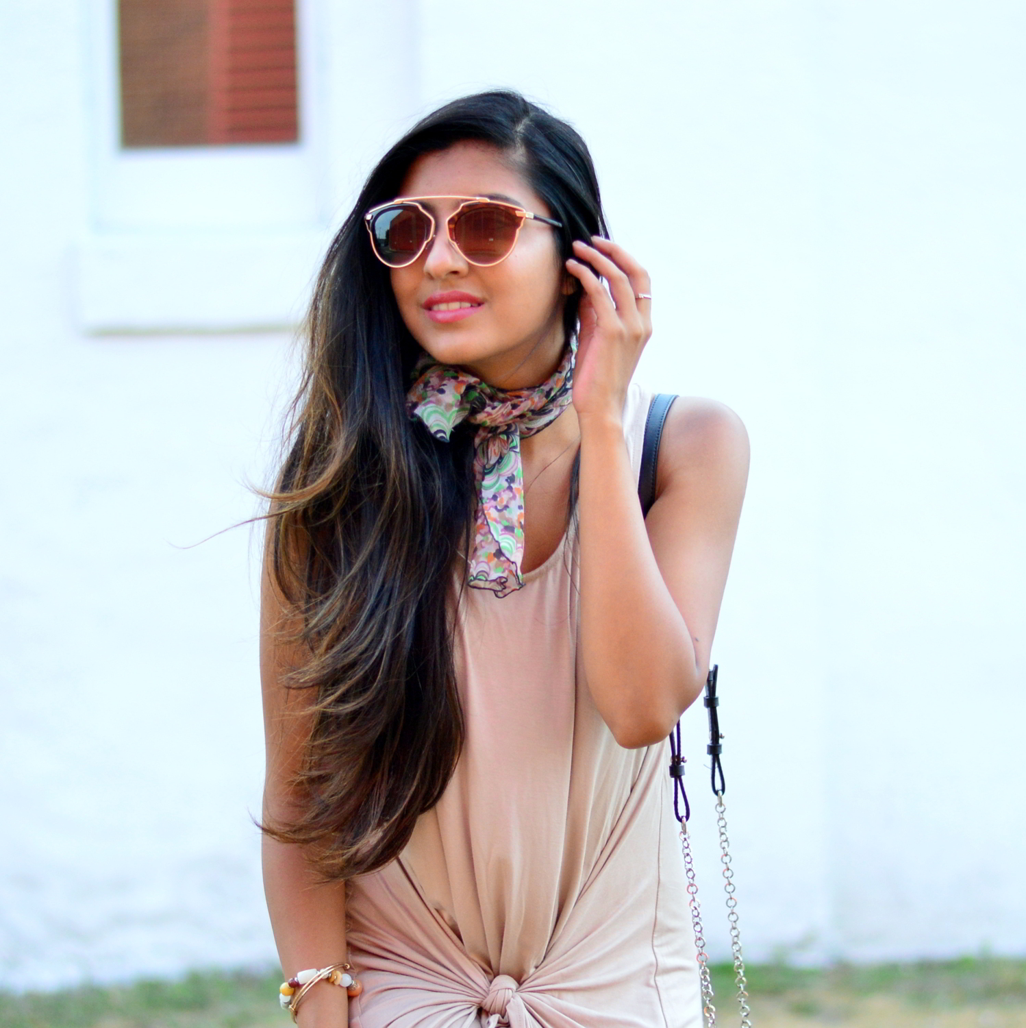 tie-front-nude-midi-dress-vintage-scarf-neutrals-summer-blogger-outfit 2