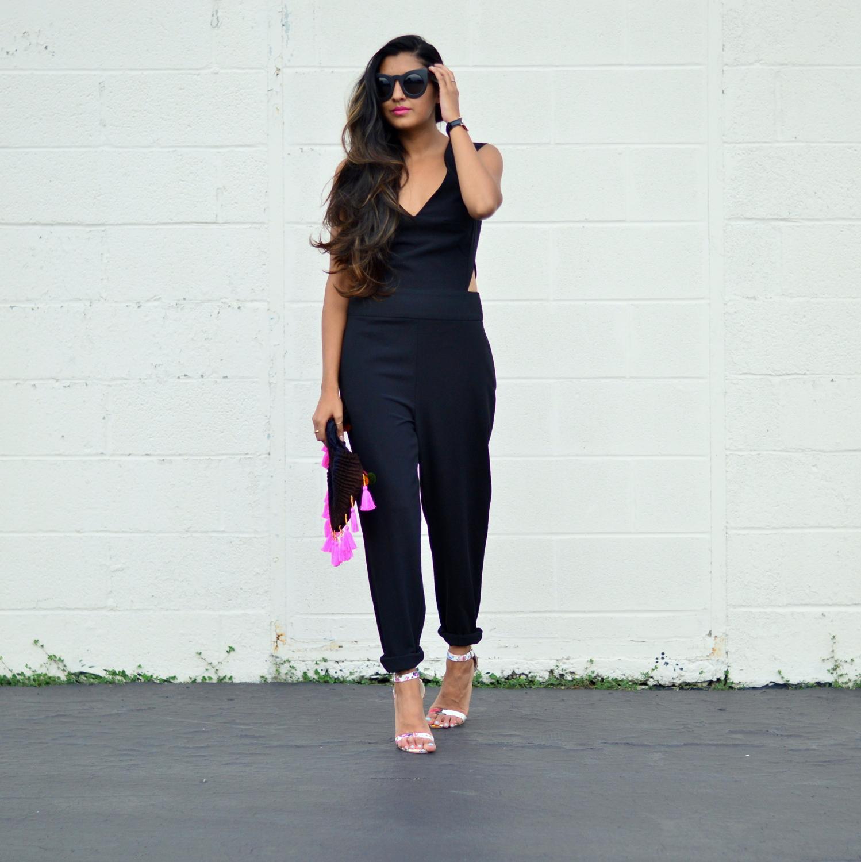 black-cutout-jumpsuit-monochrome-tassels-statement-accessories 1