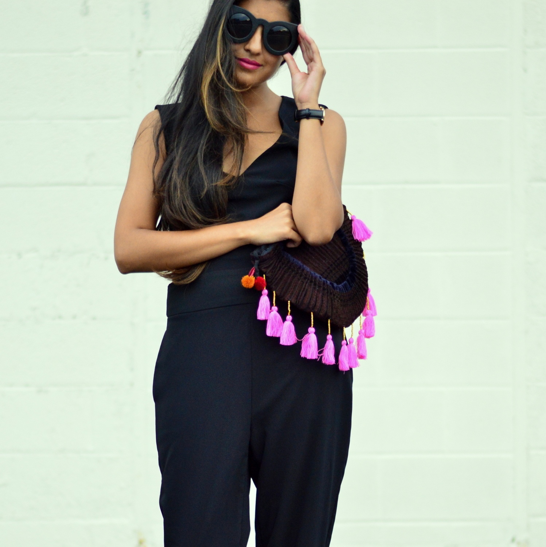 black-cutout-jumpsuit-monochrome-tassels-statement-accessories-blogger-style 2