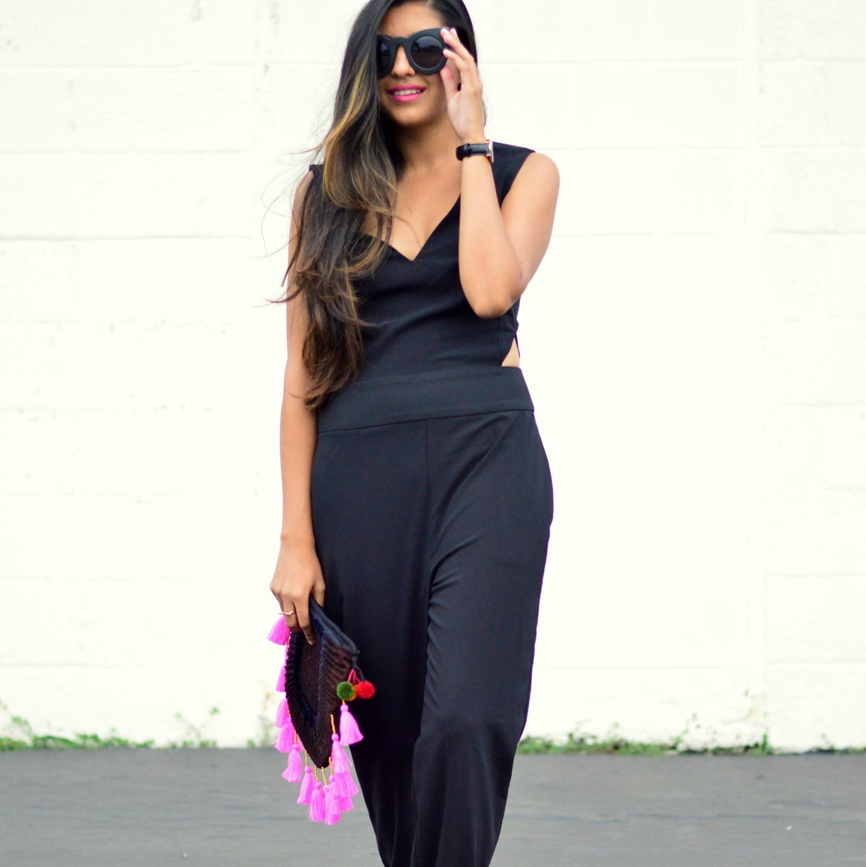 black-cutout-jumpsuit-monochrome-tassels-statement-accessories-fall-transition-style 5