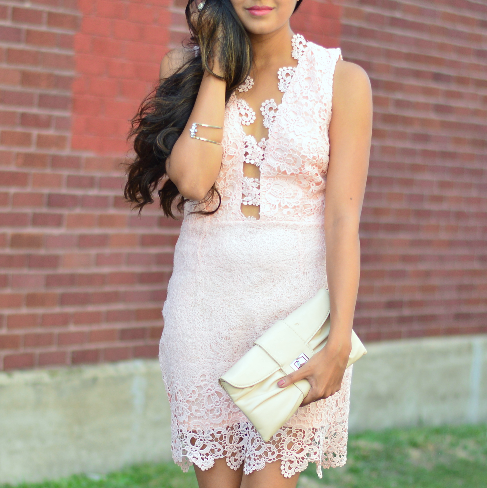 blush-pink-lace-cut-outs-dress-blogger-date-night-outfit 6