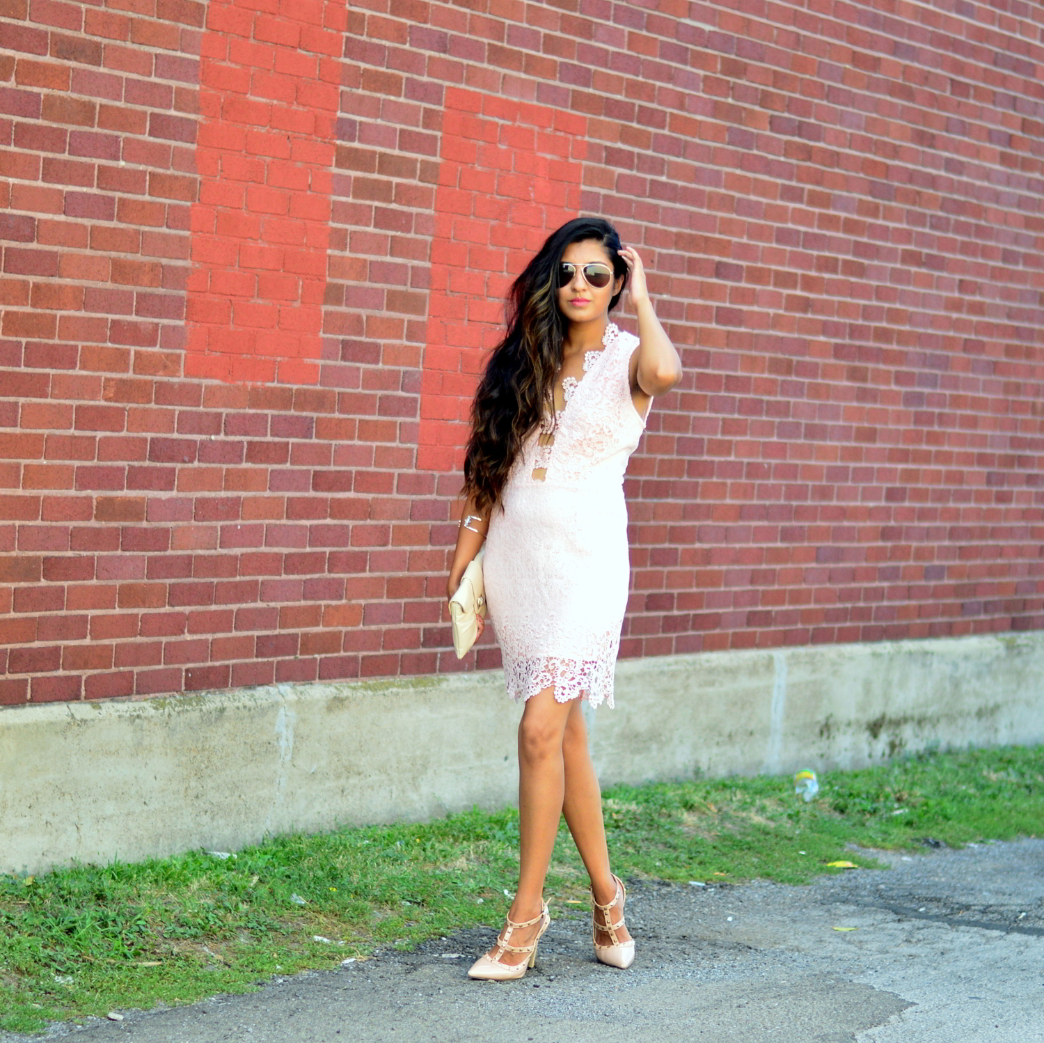 blush-pink-lace-cut-outs-dress-blogger-date-night-outfit 7