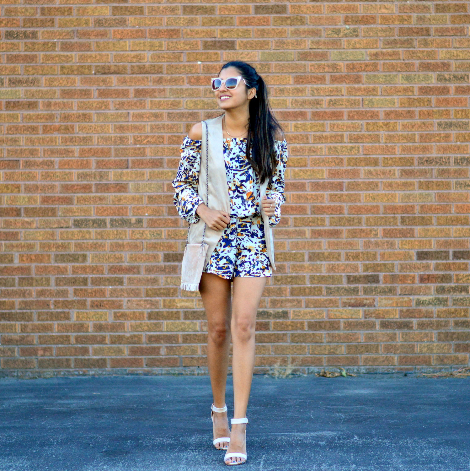 transition-off-the-shoulder-into-fall-suede-vest-romper-blogger-outfit 1