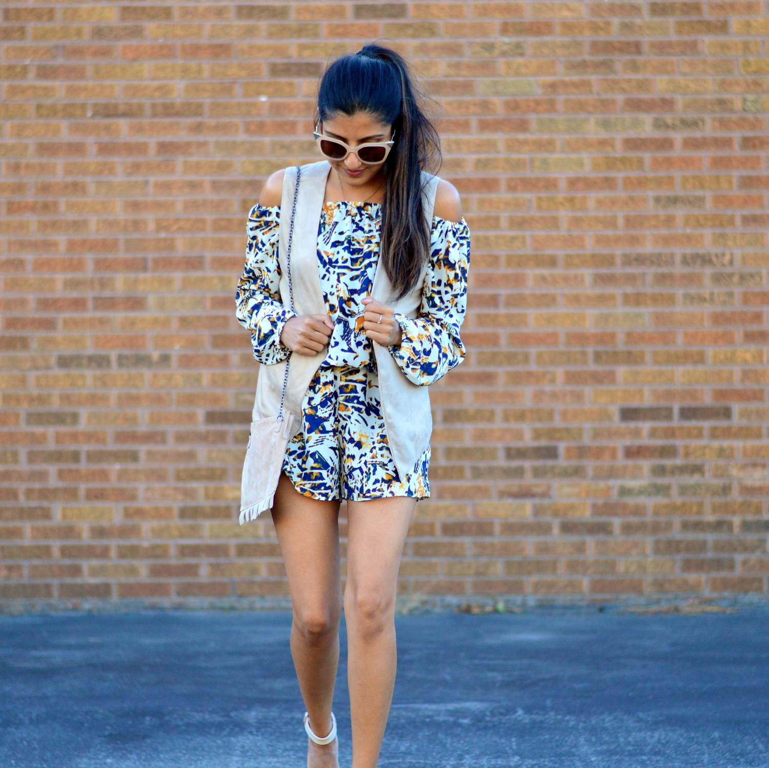transition-off-the-shoulder-into-fall-suede-vest-romper-blogger-outfit 2