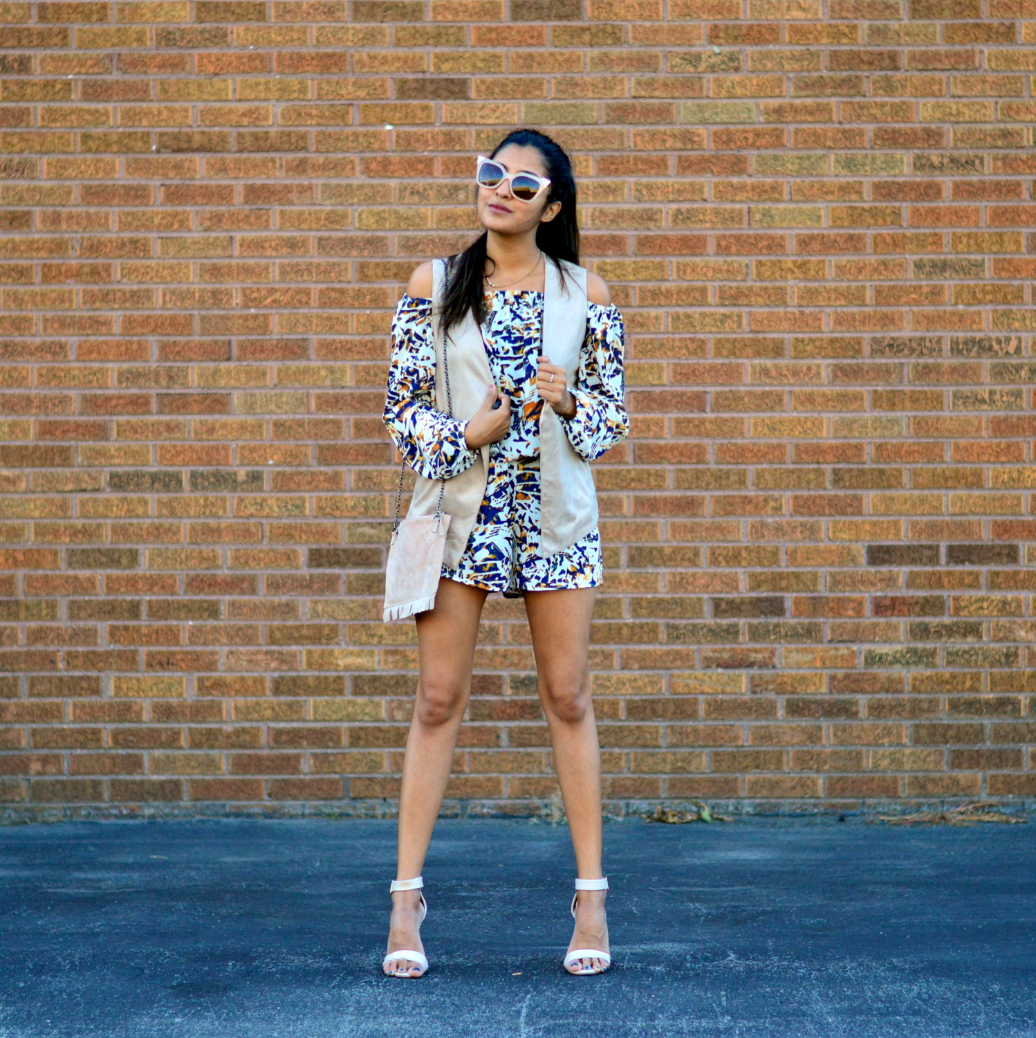transition-off-the-shoulder-into-fall-suede-vest-romper-blogger-outfit 3