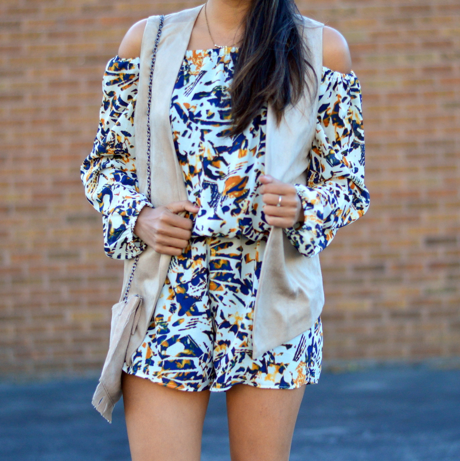 transition-off-the-shoulder-into-fall-suede-vest-romper-blogger-outfit 4