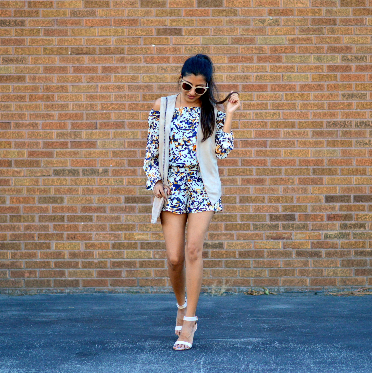 transition-off-the-shoulder-into-fall-suede-vest-romper-blogger-outfit 5