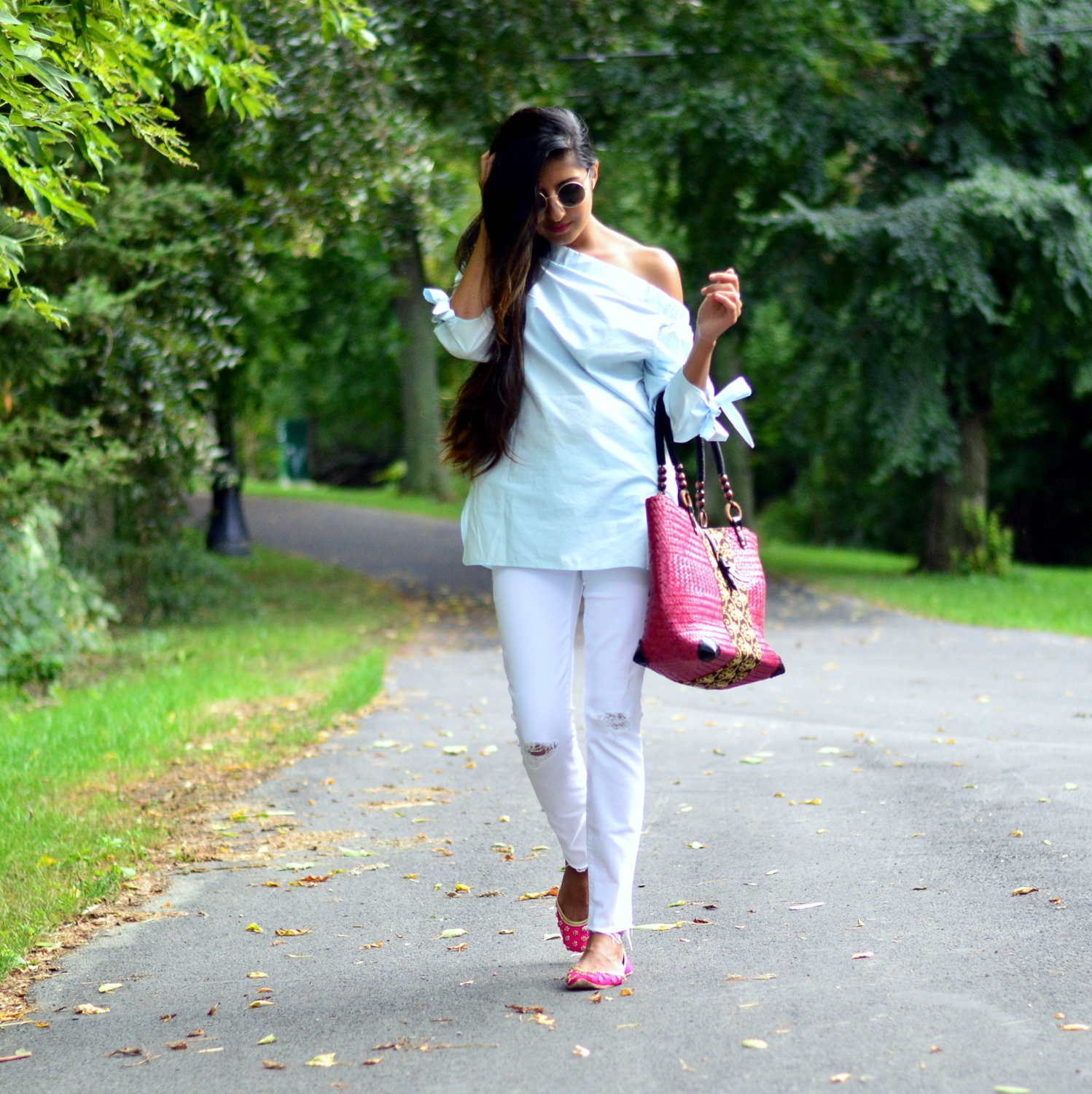 bows-sleeves-off-the-shoulder-chambray-frayed-hems-embellished flats 1
