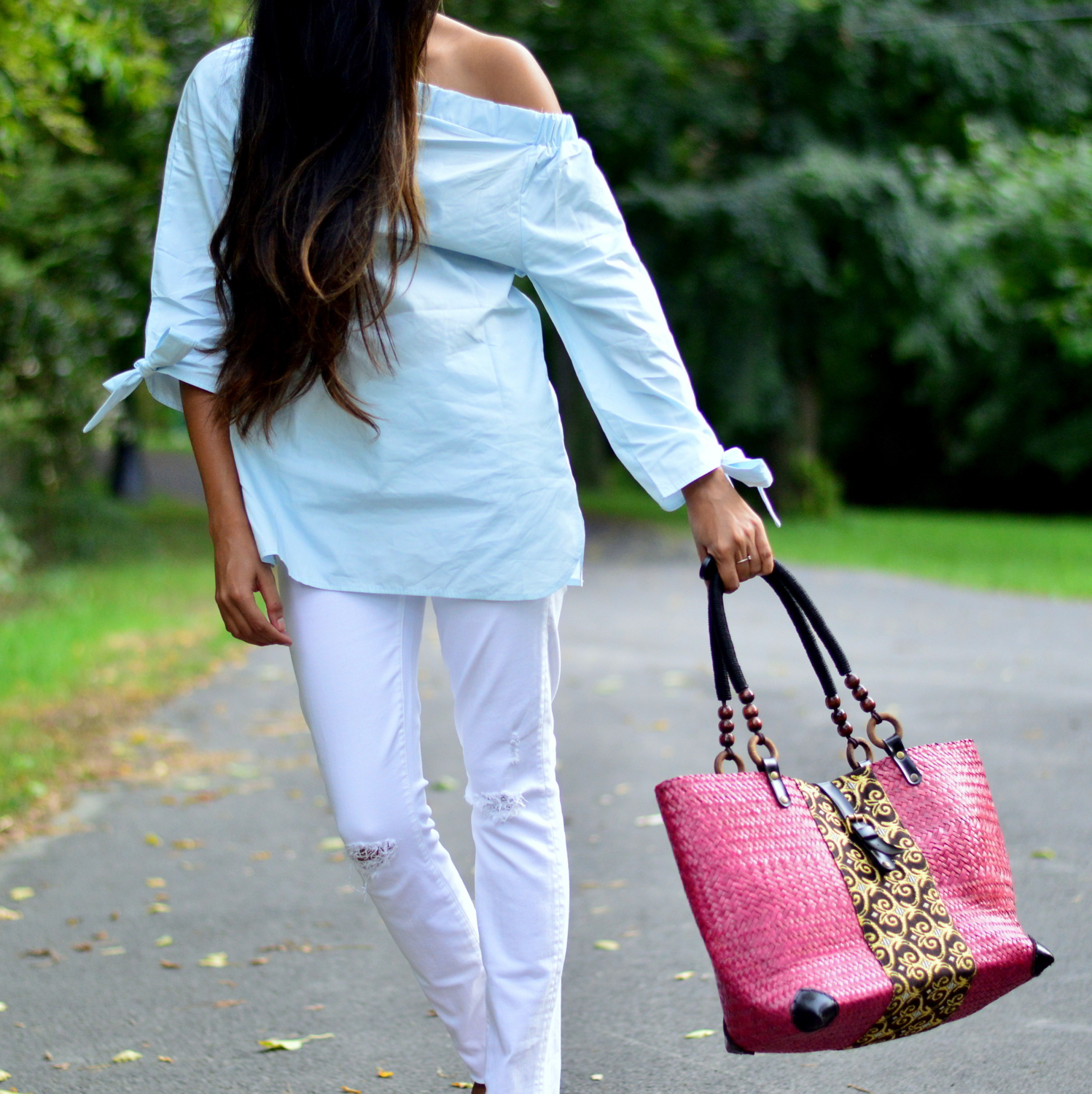 bows-sleeves-off-the-shoulder-chambray-frayed-hems-embellished-blogger-outfit 2