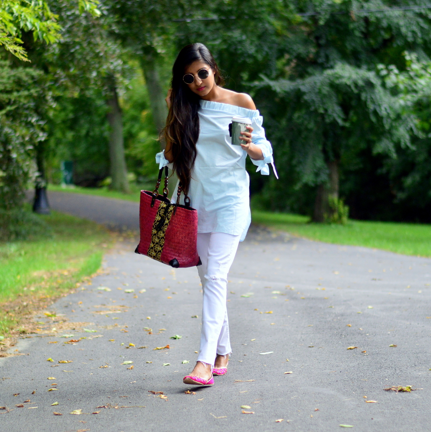 bows-sleeves-off-the-shoulder-chambray-frayed-hems-embellished-flats 7