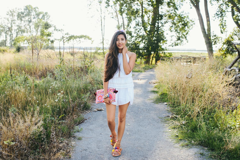 little-white-crochet-romper-late-summer-style-blogger-outfit 1