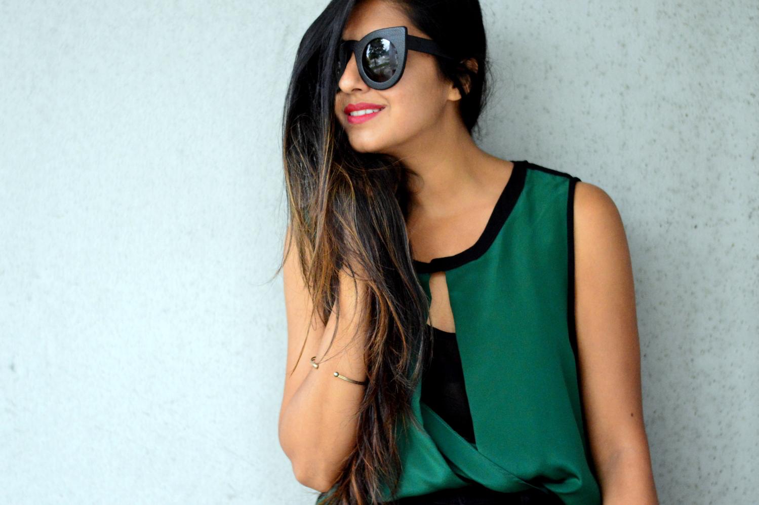 workwear-fall-style-emerald-silk-blouse-cateye-statement-sunglasses 4