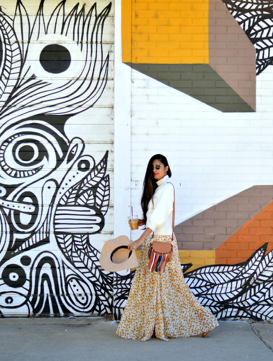 turtleneck-sweater-boho-floral-maxi-dress-travel-Denver-style 1