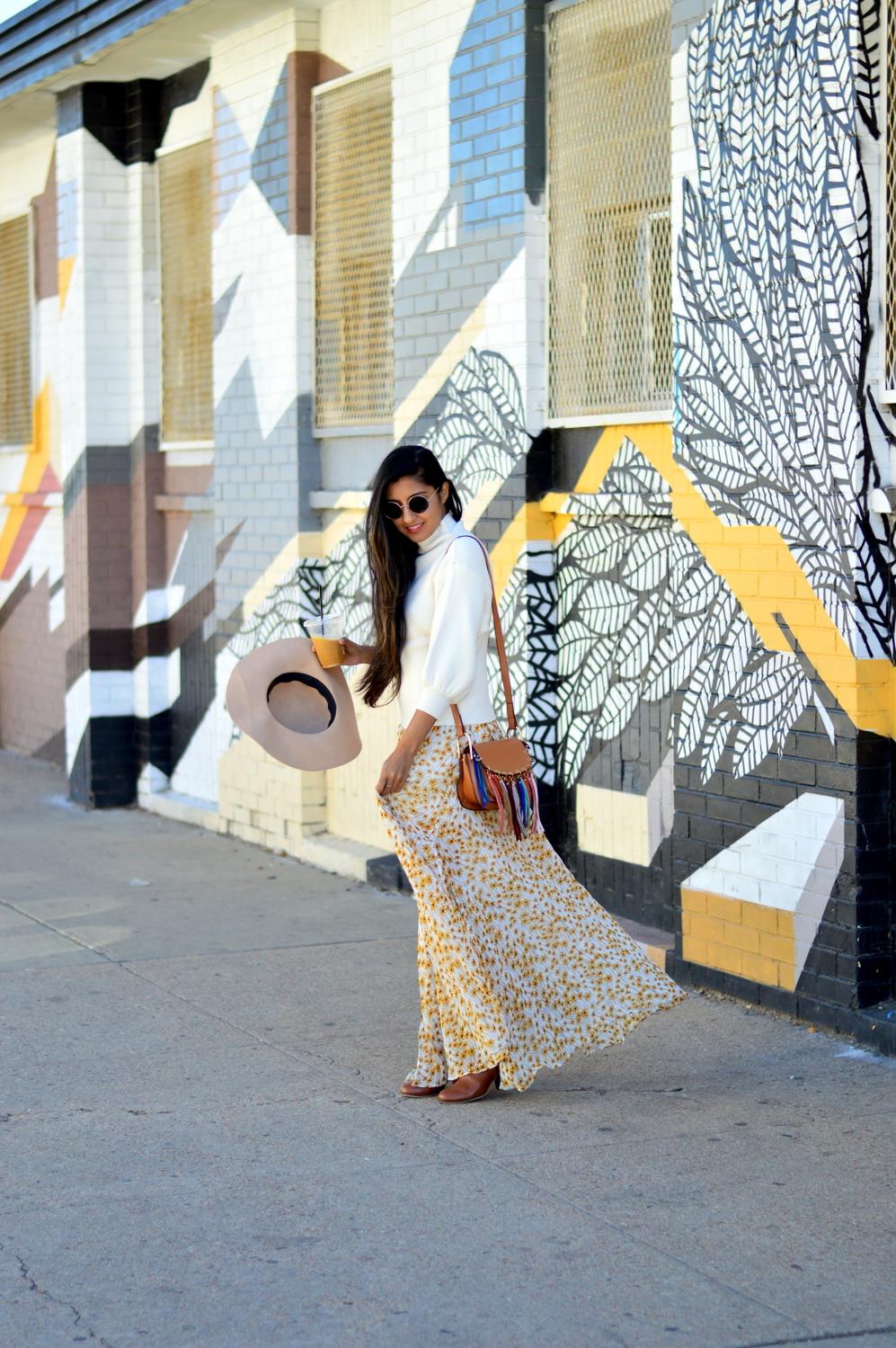 turtleneck-sweater-boho-floral-maxi-dress-travel-Denver-style 2