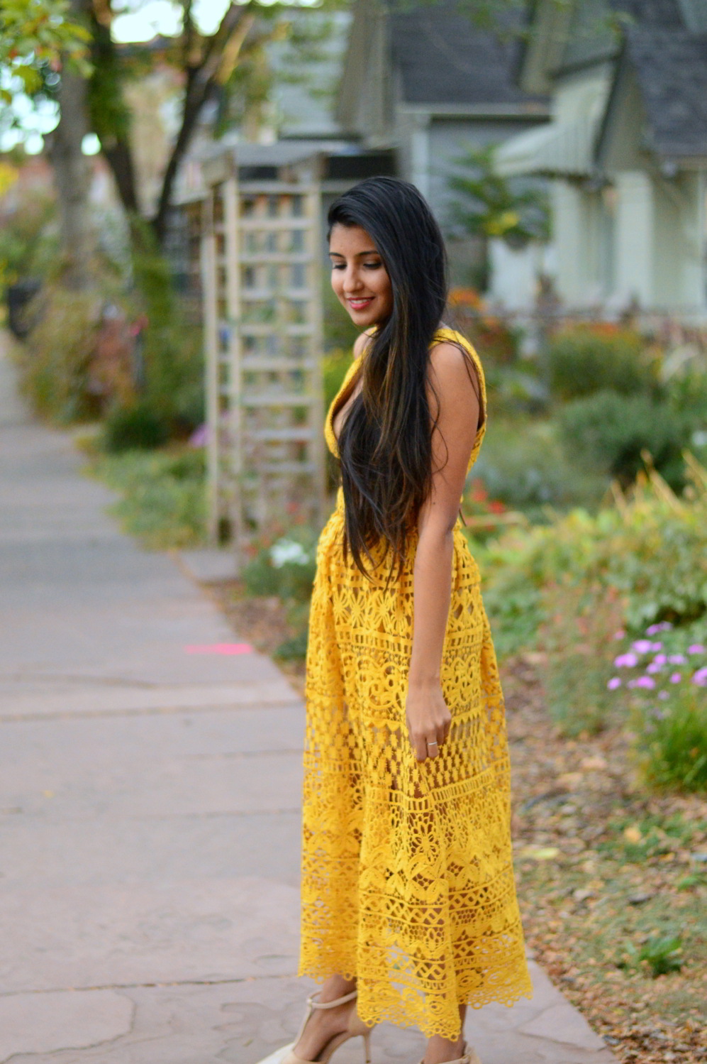 mustard-lace-midi-dress-suede-jacket-fall-style-blogger-outfit 2