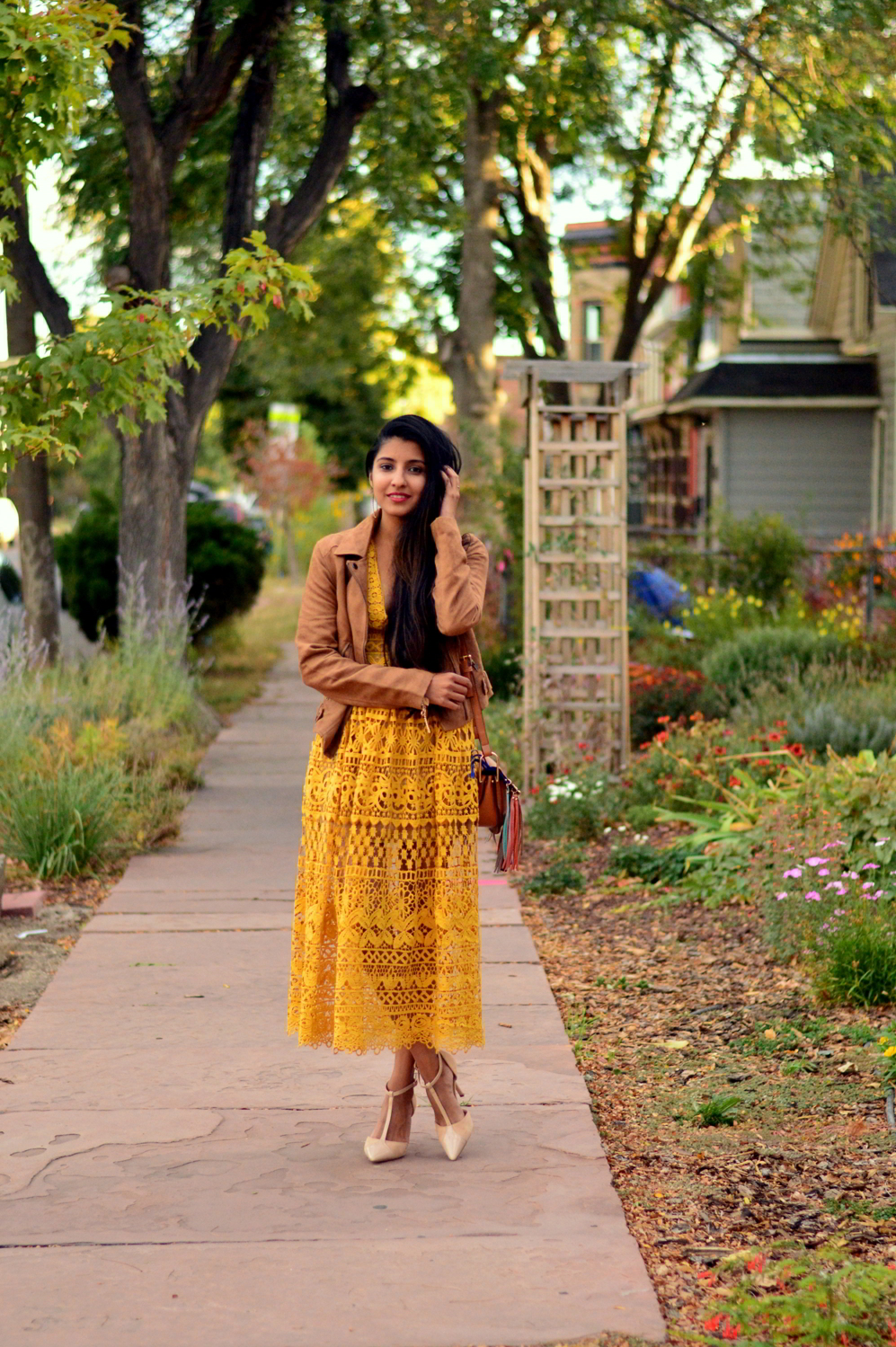 mustard-lace-midi-dress-suede-jacket-fall-style-blogger-outfit 7