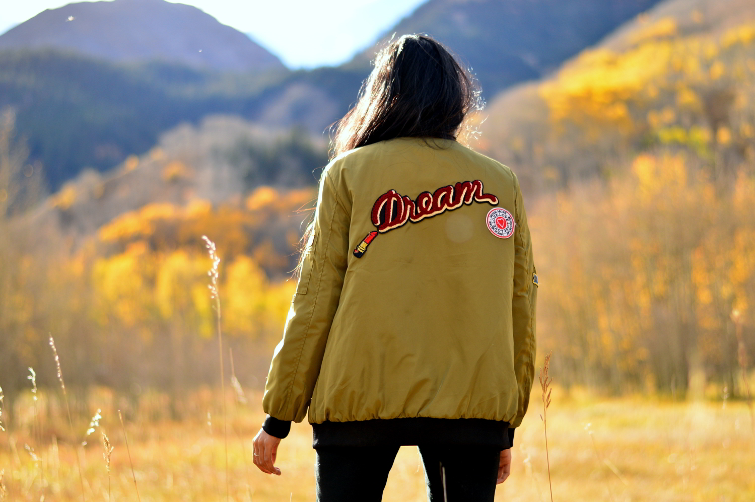 Patchwork-bomber-jacket-fall-fashion-blogger-outfit-colorado 3