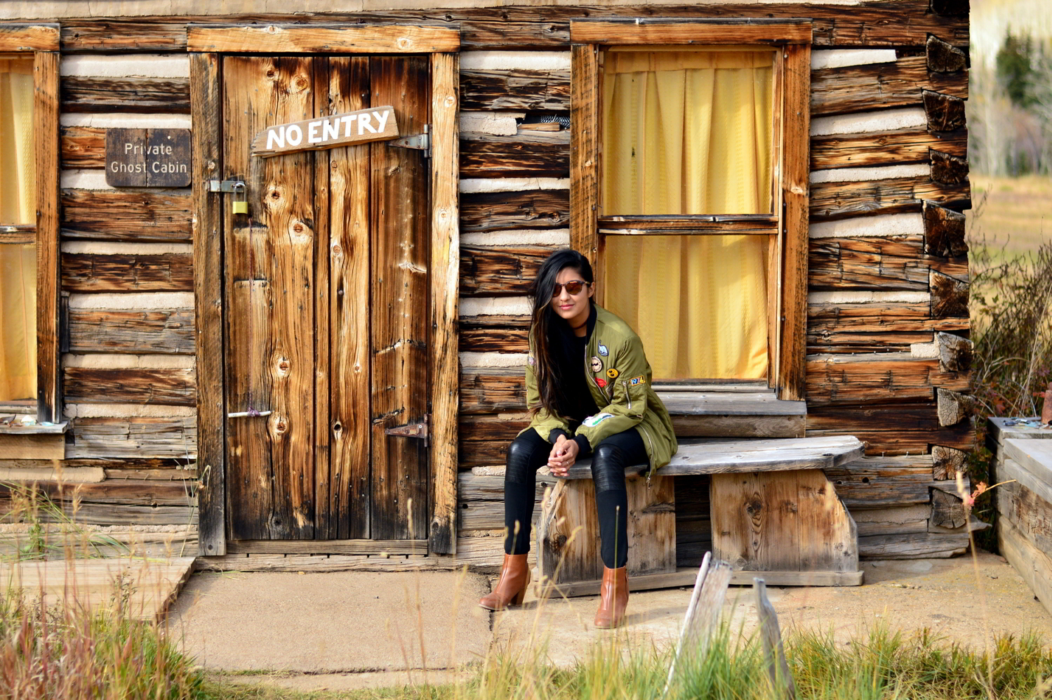 Patchwork-bomber-jacket-fall-fashion-blogger-outfit-colorado-ashford-ghost-town 1