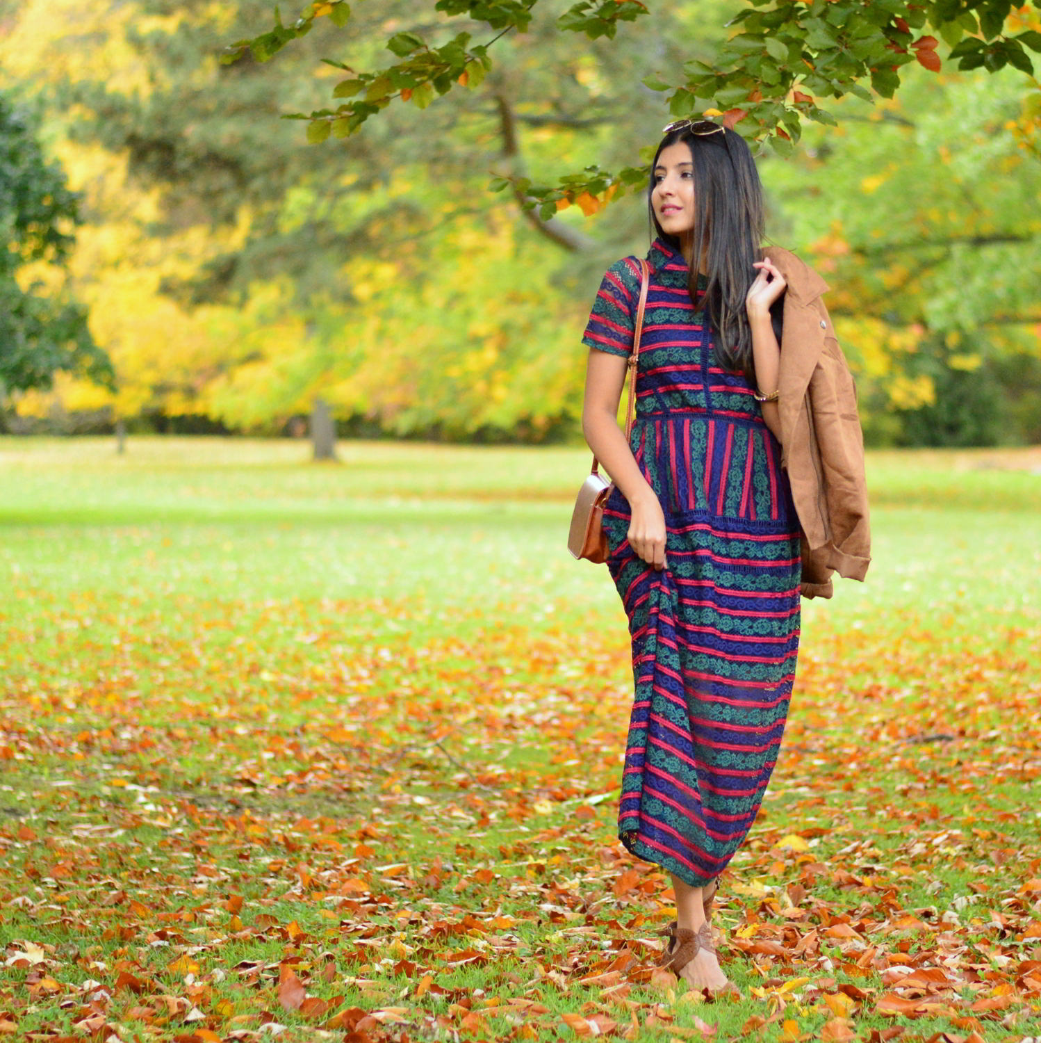 lace-multicolored-maxi-dress-suede-jacket-fall-style-blogger-outfit 1