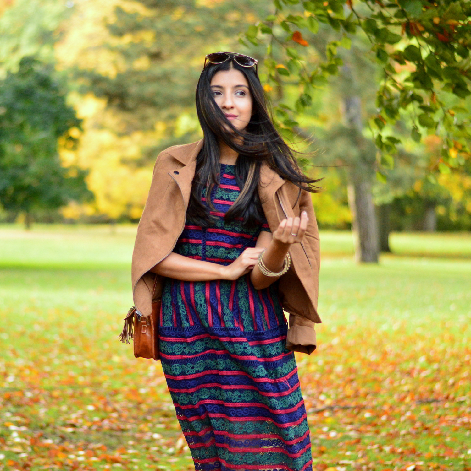 lace-multicolored-maxi-dress-suede-jacket-fall-style-blogger-outfit 2