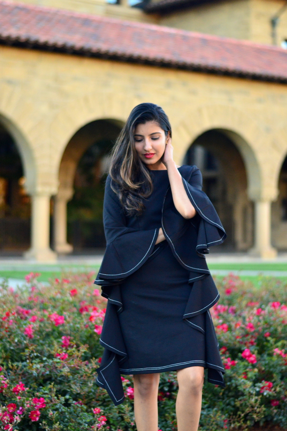little-black-dress-bell-sleeves-holiday-season-mules-blogger-outfit-style 2
