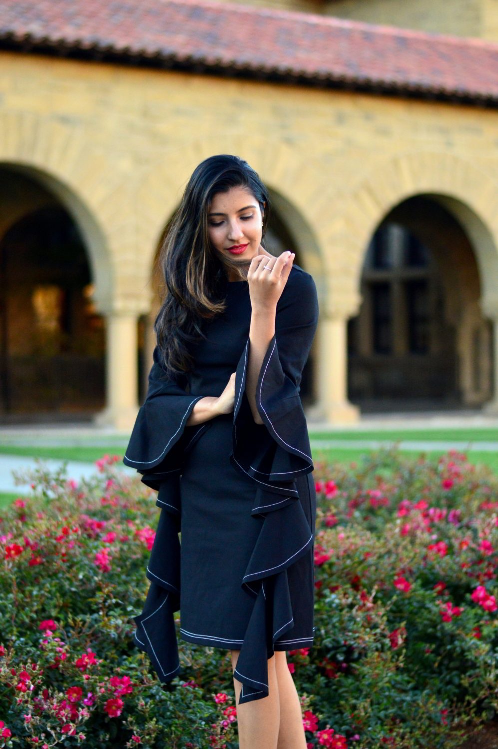 little-black-dress-bell-sleeves-holiday-season-mules-blogger-outfit-style 4