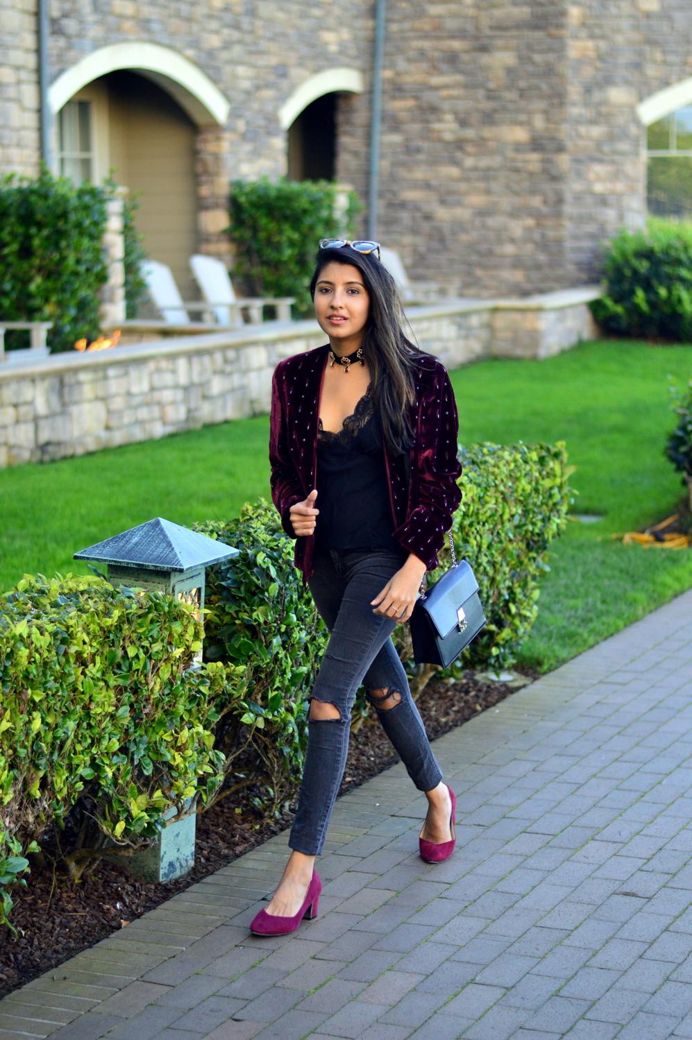 velvet-embellished-blazer-holiday-party-style-burgundy-black-blogger-outfit 1