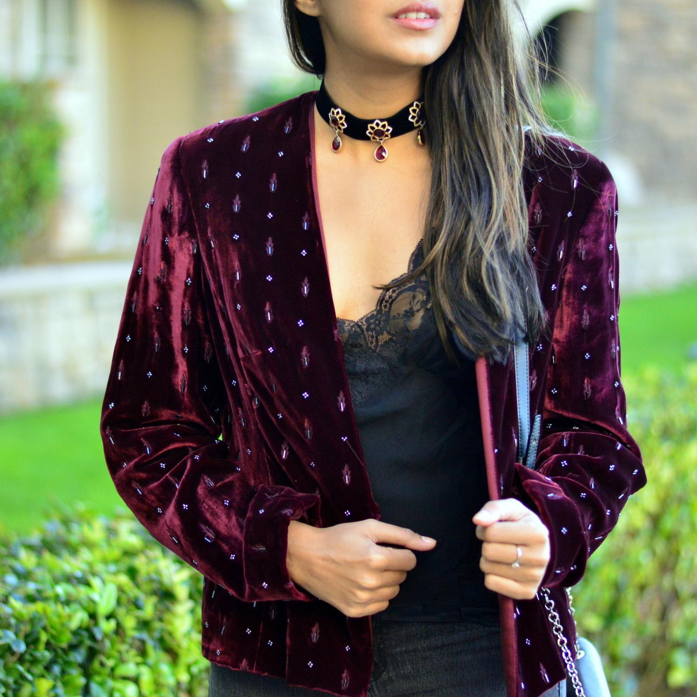 velvet-embellished-blazer-holiday-party-style-burgundy-black-blogger-outfit 2