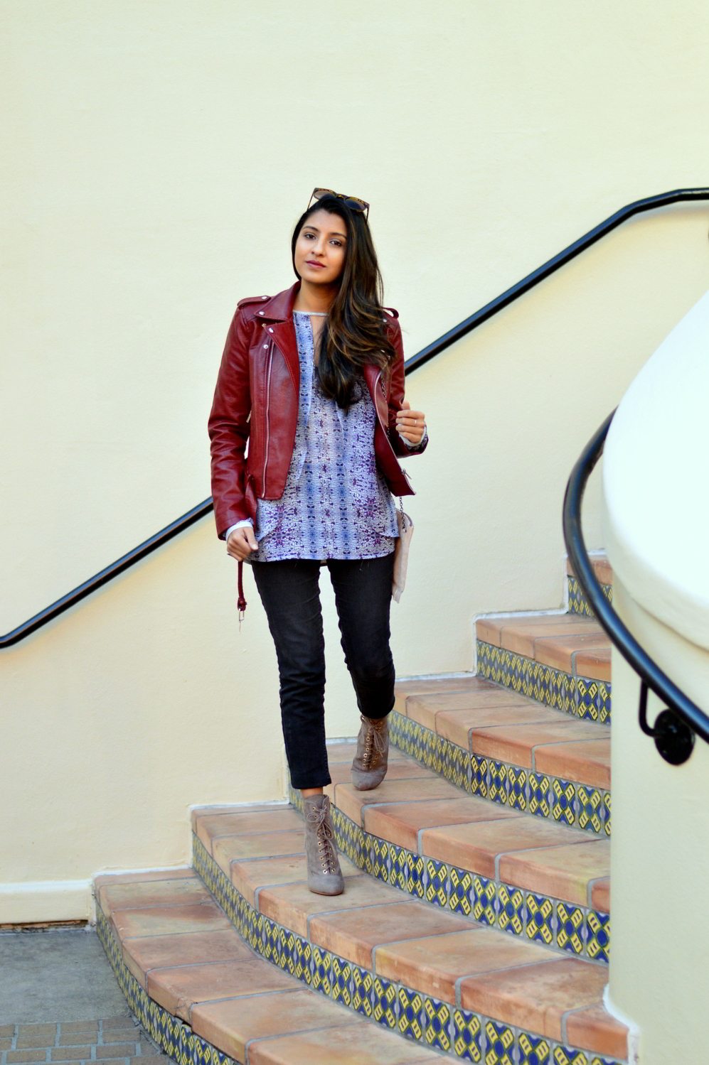 burgundy-leather-jacket-laceup-ankle-boots-casual-layers-winter-style-fall-blogger-outfit 7