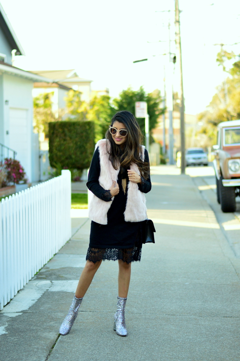 california-winter-layers-sweater-dress-lace-faux-fur-vest-glitter-ankle-boots 1