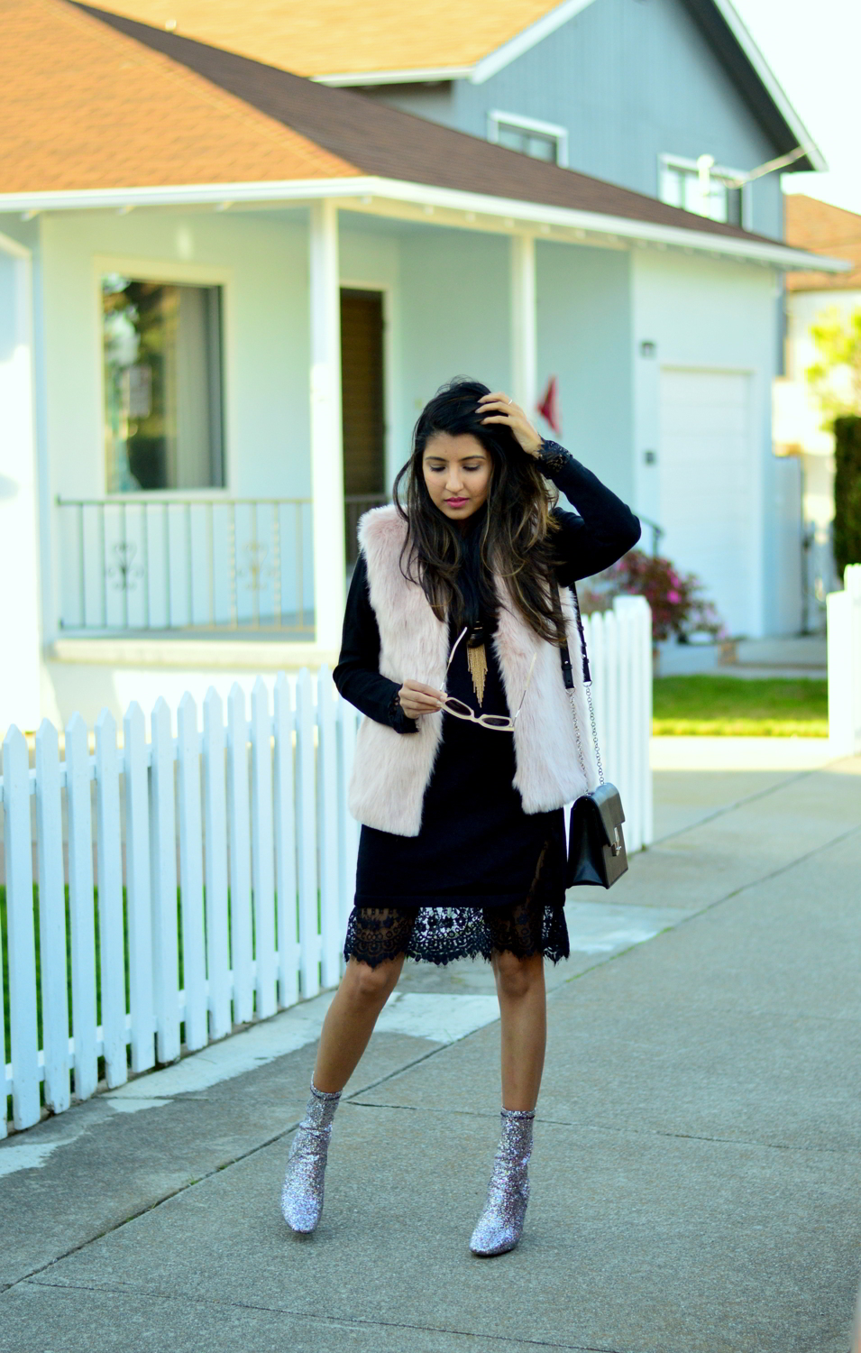 california-winter-layers-sweater-dress-lace-faux-fur-vest-glitter-ankle-boots-blogger-outfit 7