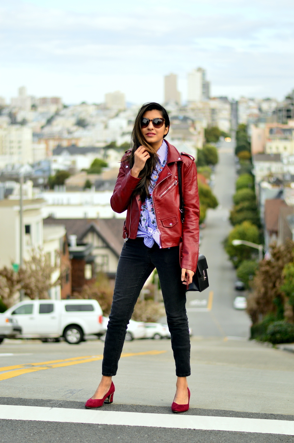embroidered-classic-buttondown-striped-shirt-leather-jacket-burgundy-winter-san-francisco-style 1