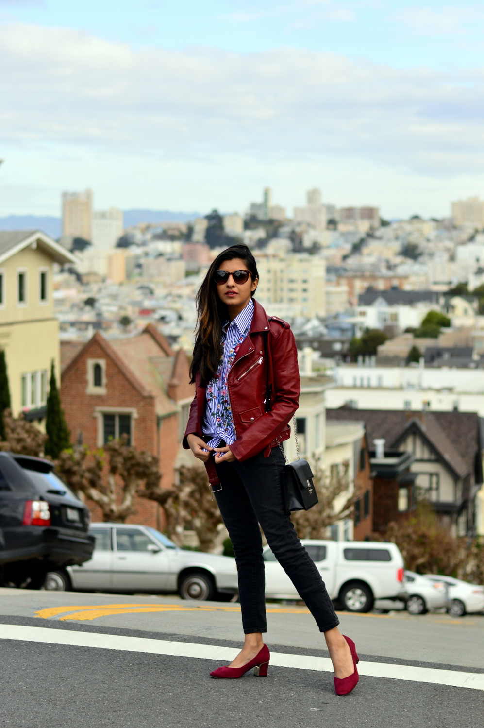 embroidered-classic-buttondown-striped-shirt-leather-jacket-burgundy-winter-california-style-blogger 6