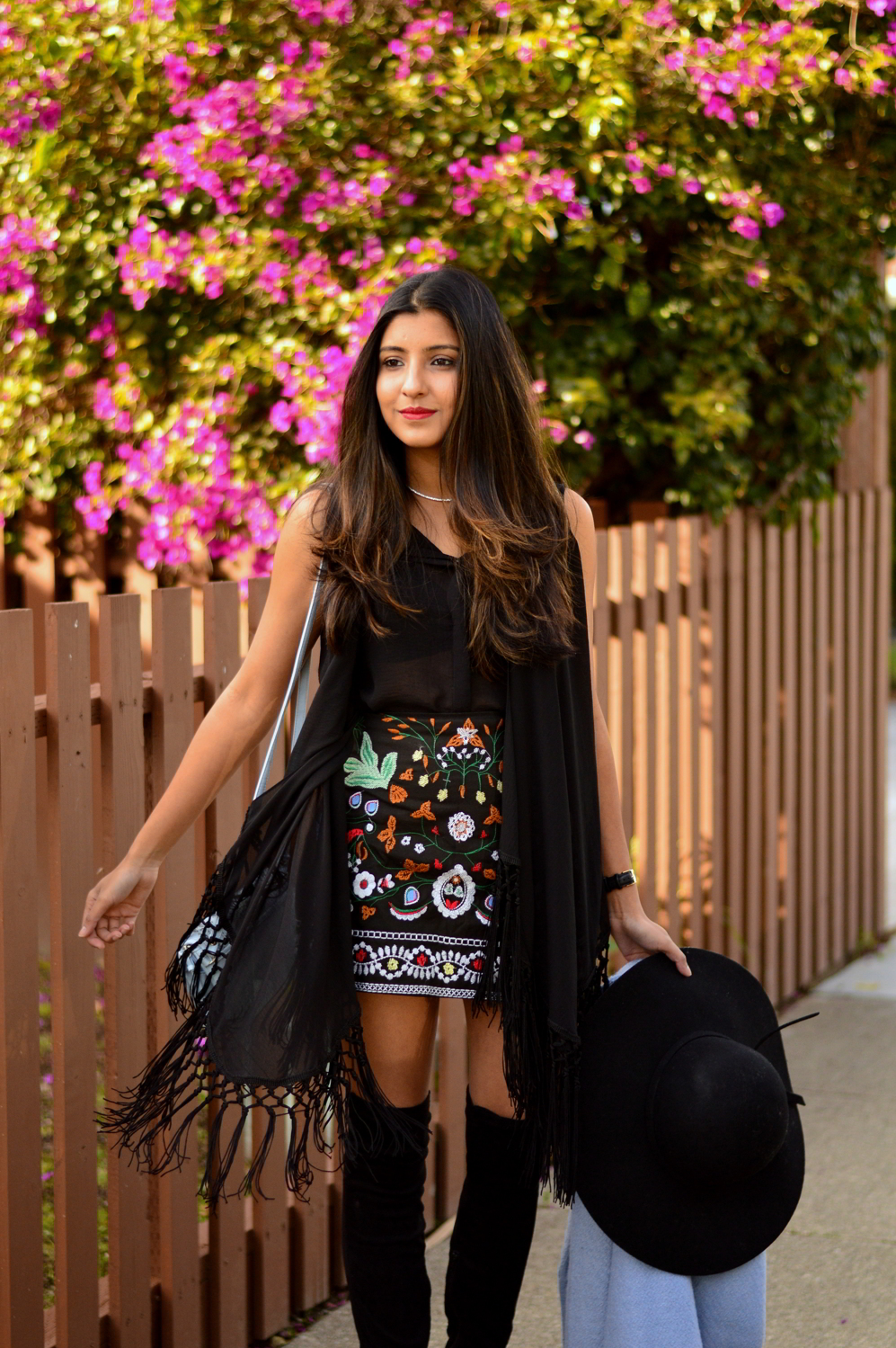 embroidered-skirt-fringe-blouse-winter-layers-blogger-over-the-knee-boots 2