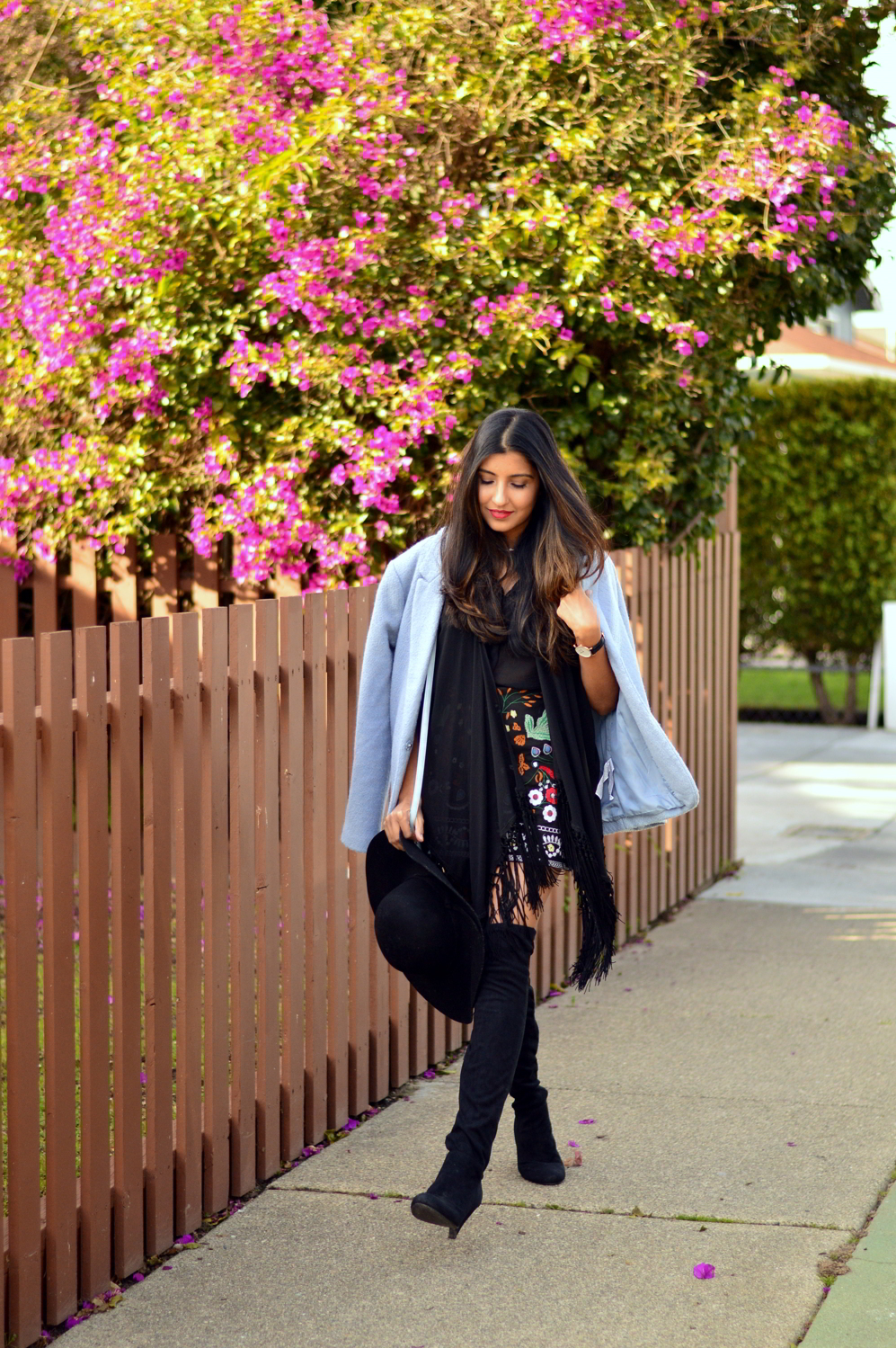 embroidered-skirt-fringe-blouse-winter-layers-blogger-outfit 4