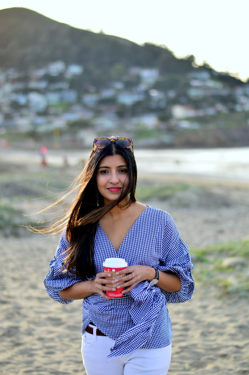 gingham-plaid-wrap-blouse-white-denim-over-the-knee-boots-winter-california-blogger-fashion 2