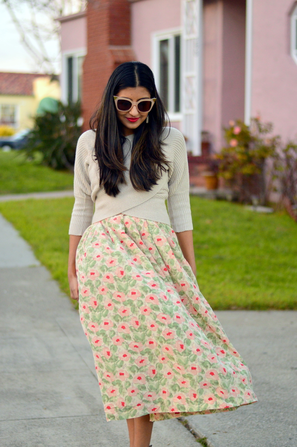 wrap-sweater-cropped-floral-midi-skirt-spring-style-blogger-fashion 2
