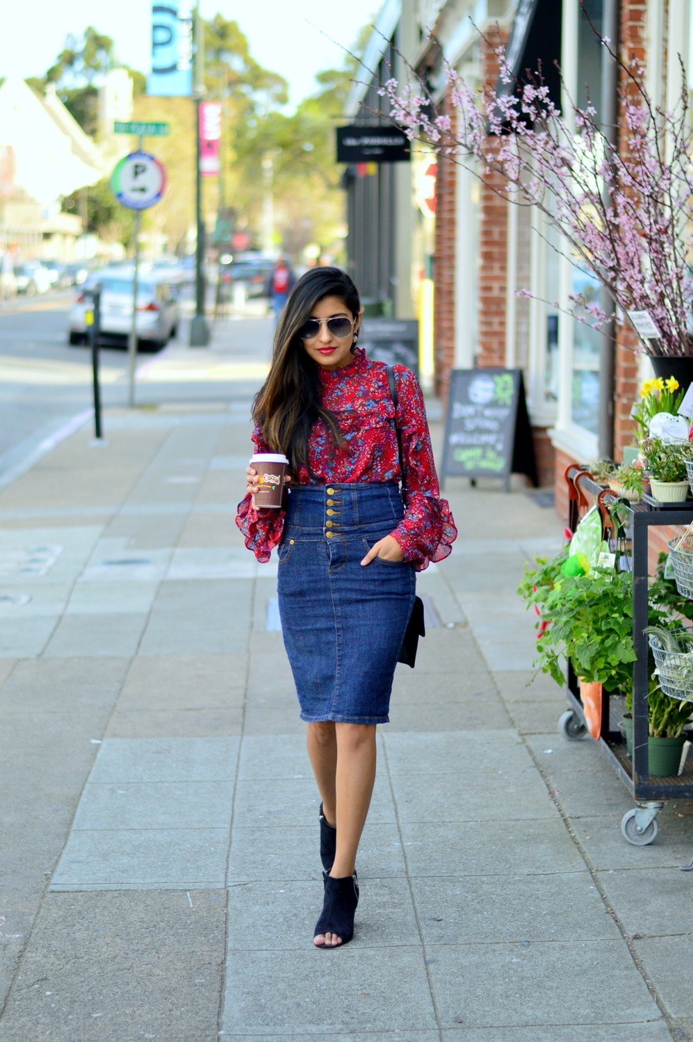 ruffles-floral-top-spring-style-high-waisted-denim-skirt-blogger-outfit 1