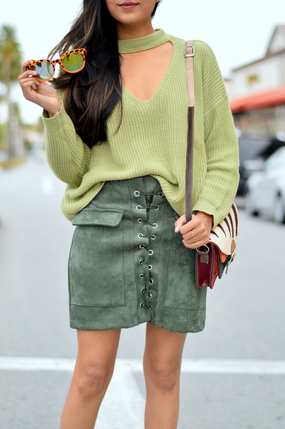 monochrome-green-choker-sweater-suede-lace-up-skirt-spring-style 4