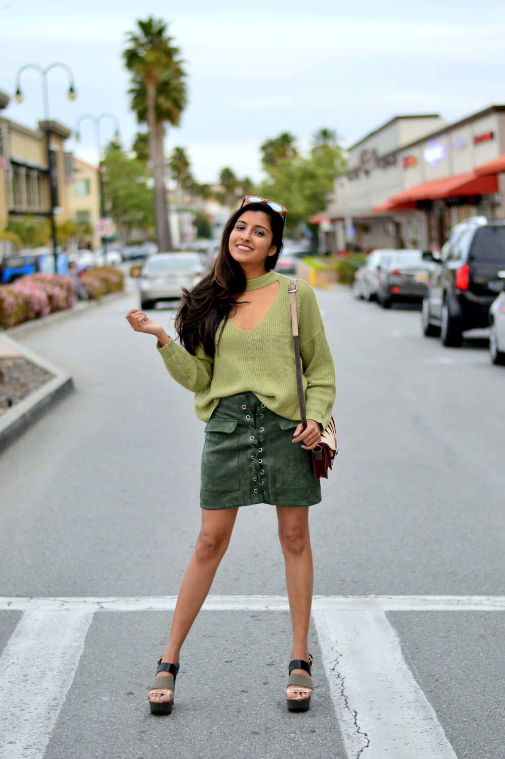 monochrome-green-choker-sweater-suede-lace-up-skirt-spring-blogger-style 5
