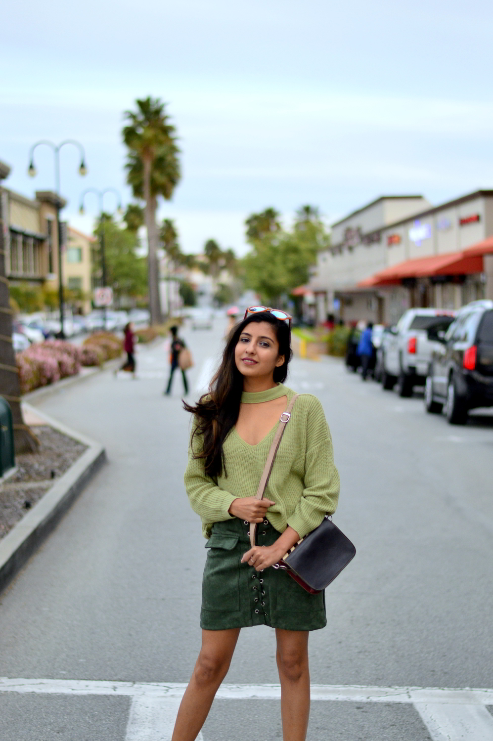 monochrome-green-choker-sweater-suede-lace-up-skirt-spring-style 6