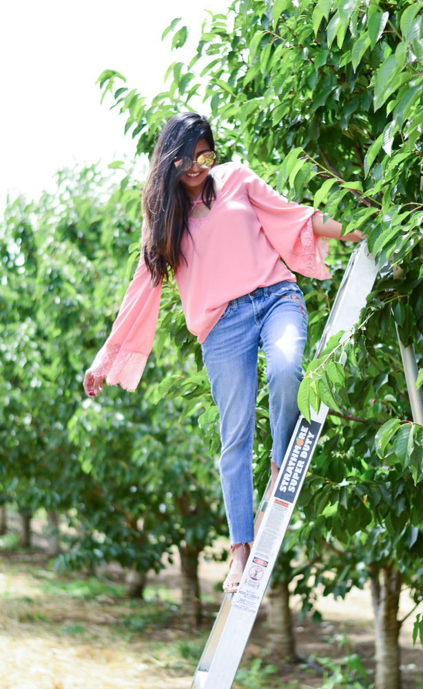 bell-sleeves-pink-blouse-embroidered-denim-cherry-picking-brentwood-california-travel-style 3